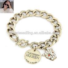 Metal leopard disc pendant cheap chain bracelets