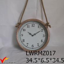 Rope Hanging Round Metal Vintage Antique Wall Clock