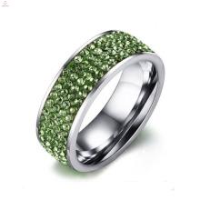 Nova Cubic Zirconia Aço Inoxidável Sorte Pedra Anéis De Dedo De Casamento De Prata