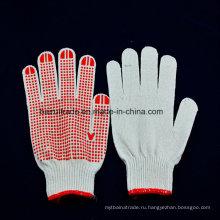 65Г Отбеленный хлопок десять-контактных точек цветного пластика скольжения перчатки