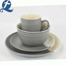 Vajilla de cerámica gris de empalme de grado alimenticio de diseño único personalizado de moda