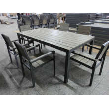 7 PCS Outdoor Garden Patio Synthetic Wood Dining Set
