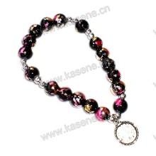 8 milímetros de vidro beads rosário pulseira, moda pulseira