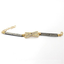 7.5cm Gold Color Charm with Leather Bracelet with Rhinestones