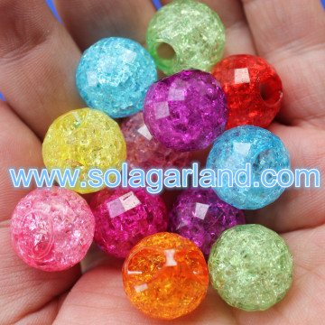 17MM Acrylic Crystal Crack Round Beads Pendants 5MM Large Hole Beads Pendants