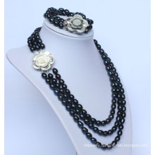 3 Strands Freshwater Black Pearl Jewelry Necklace Sets (ES1332)