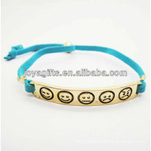 Blue leather cord with gold plated alloy bracelet