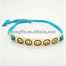 Banhado ouro liga de cor esculpido phiz símbolo com bracelete de couro azul