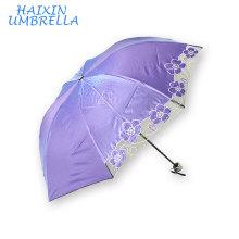 Сплошной Цвет приятный глазу 3 раза ультрафиолетовый мини-солнце цветок вышивка китайский зонтик для дождя и Солнца