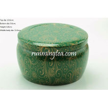 Dark Green Vivid Flower Painting Round Tin Canister for Matcha or Loose leaves Tea