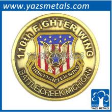 Moeda personalizada comemorativa, customizada comemora moeda de ala de lutador com chapeamento de ouro