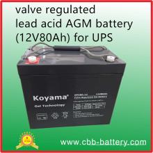Bateria AGM de ácido derivado regulada por válvula (12V80Ah) para UPS, Telecom, Electrical Utilities