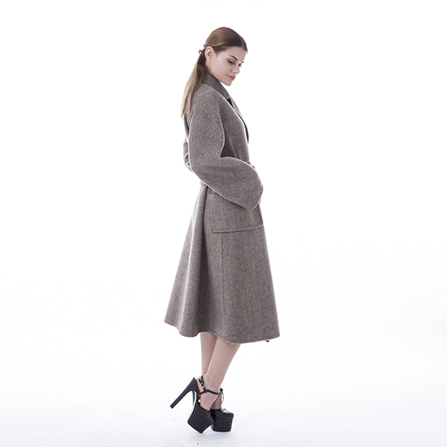 Medium and long double-sided cashmere overcoat