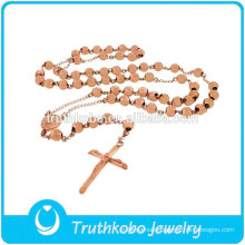 Fashion Rose Gold Chain Neckace Stainless Steel CatholicJewelry High Polish Our Lady of Medugorje Rosary for Women