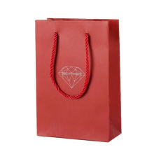 Wholesale High Quality Printed Red Gold Logo Pattern Carrier Gift Christmas Paper Bag
