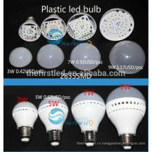3W пластиковая колба светодиодная лампа E27 E14