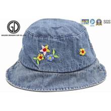 Kids Baby Children Denim Fabric Bucket Hat with Flower Embroidery