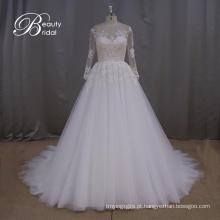 Vestido de casamento do laço sonhadora princesa Long Sleeve