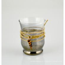 Suporte de vela de vidro com corda de juta e bela concha (dRL14063)