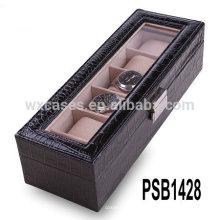 caixa de relógio de couro de alta qualidade para 5 relógios atacado fabricante, China