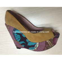 African Printed Fabric Wedge Shoes (Hs01-005)