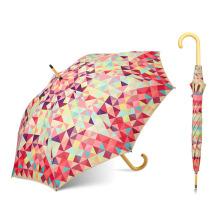 L'Oreal zertifizierte Fabrik 23 Zoll Günstige maßgeschneiderte gerade Holzgriff Regenschirm
