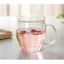 Resistência ao calor Copo de chá de vidro transparente com infusão e tampa
