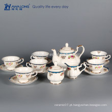 15pcs Estilo Plain estilo ocidental chá de café Sugar Set Canister, fino osso China Árabe Coffee Cup Set