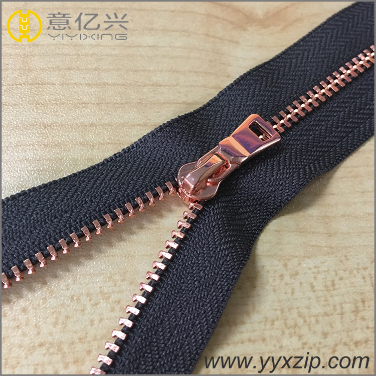 fashion rose gold metal zipper