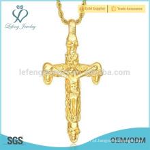 Atacado de aço inoxidável mens grandes pingentes de ouro cruz