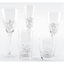 Clear Wine Glass Set With White Flowe Decal
