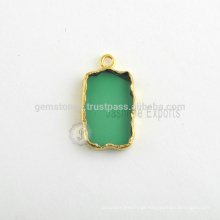 Atacado Handmade Green Emerald Quartz Slice Bezel Station Micron Gold Plated Sterling Silver Bezel Charm Suppliers