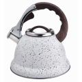White marble whistling stovetop tea pot kettle