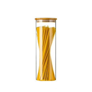 high quality 32 oz clear glass jar with bamboo wood lid