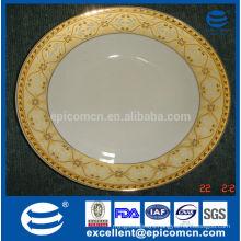 luxury golden bone china crockery of china flat plate