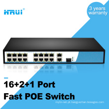 3 gigabit uplink 100 M 48 v 16 porto interruptor de fibra óptica poe