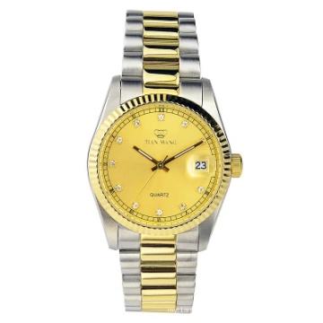 СС и золото комбинированные цвета благородный джентльмен роскошные часы с окном даты
