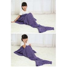 Knitted Sea-Maid Sleeping Bag Mermaid Tail Blanket Fish Tail Shape Blanket
