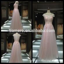 2017 heiße Verkauf applique rosa Hülle Kleid Brautjungfer Kleid