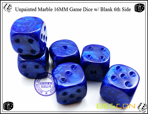 Un-painted Marble Dice 16MM with Blank 6th Side-8