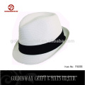 yiwu factory supplier cheap white color fedora hat custom logo band