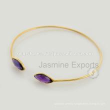 Beautiful Amethyst Gold Vermeil Gemstone Lovely Charm Bangle For Women