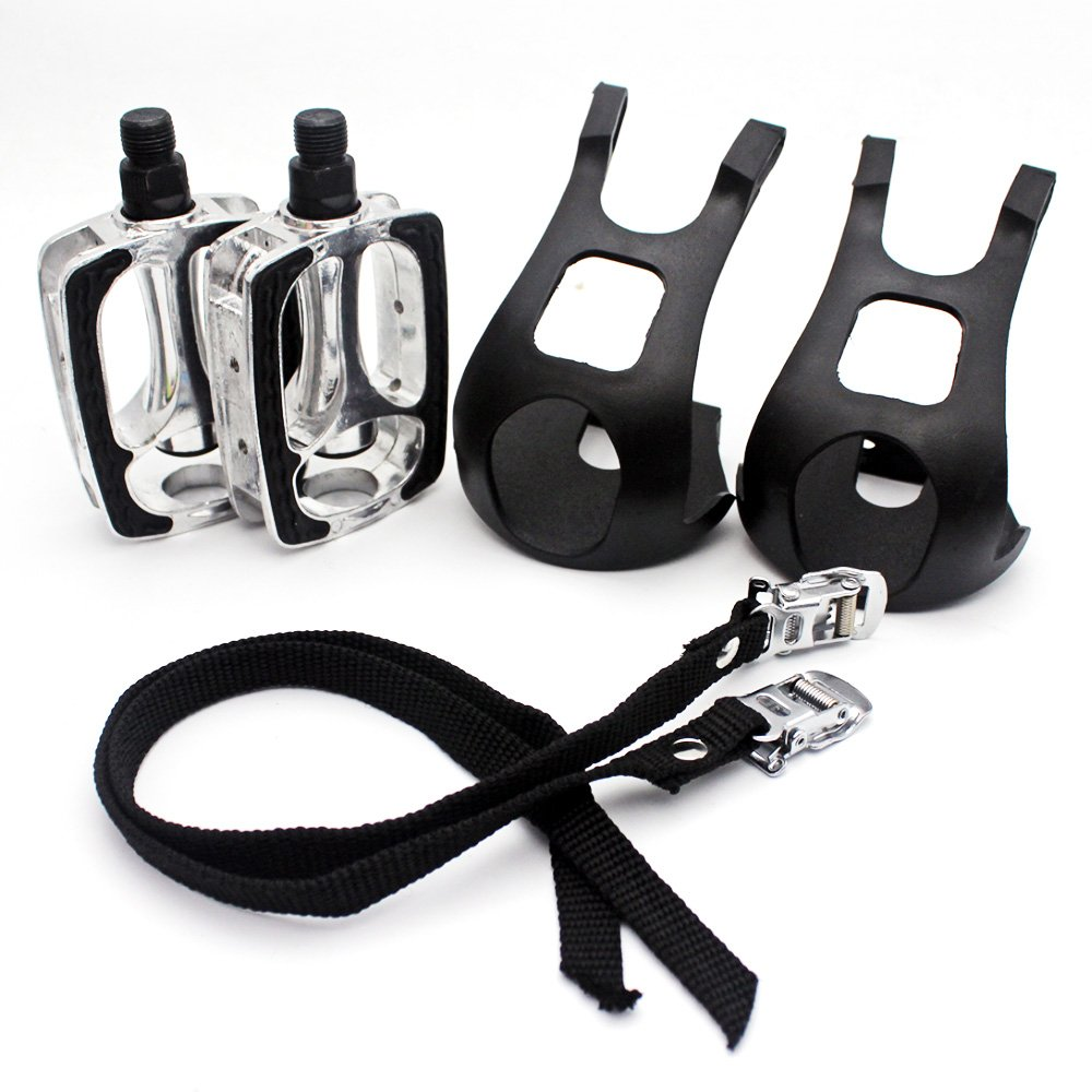 Bike Pedals with Toe Clip and Straps
