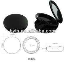 Runde schwarze Farbe Kunststoff gepressten Puderdose