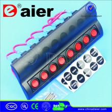 Painel de parede marinho do diodo emissor de luz 12V com os 8 interruptores de circuito do impulso
