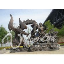 Высокое качество металлический дракон скульптура бронзовая скульптура дракона