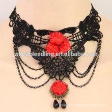Retro simple temperament lace choker necklace with stone