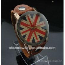 Vente en gros Montre en cuir Japon Quartz Movt Union Jack montre WL-023