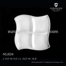 NSJ024 compartiment de porcelaine de restaurant à chaud, plaque divisée, bac à compartiments alimentaires