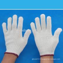 Gants de travail tricotés en coton blanc naturel calibre 7 400-1000 grammes